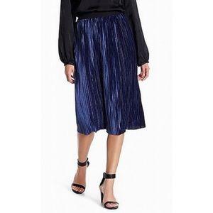 Free Press Velvet Pleated Midi Skirt